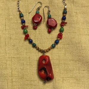 """BARSE Organic design Sterling & Red Sea Bamboo necklace & earrings set 18"""""""